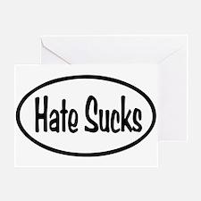 Hate Sucks Oval Greeting Card