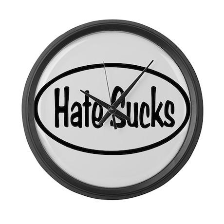 Hate Sucks Oval Large Wall Clock