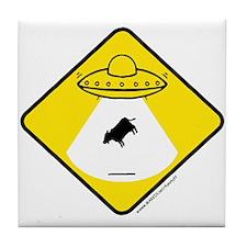 Alien Cow Abduction Tile Coaster