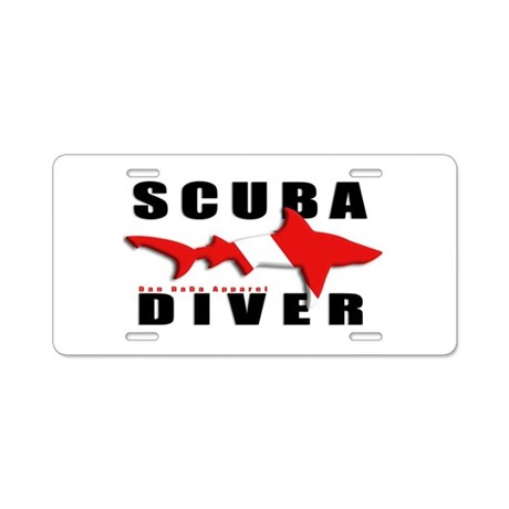 Scuba Diver: SHARK Aluminum License Plate