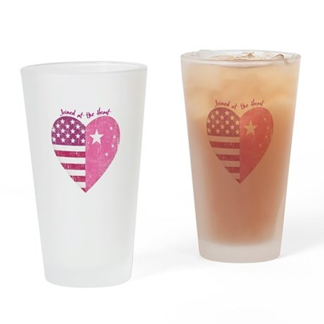 Joined at the Heart (pink) Drinking Glass