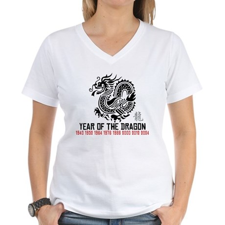 Chinese New Year of The Dragon Women's V-Neck T-Sh