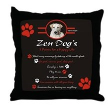 Zen Dog Happy Life Throw Pillow