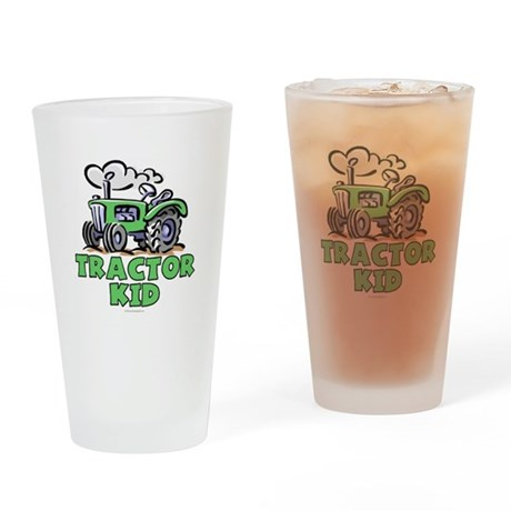 Green Tractor Kid Drinking Glass