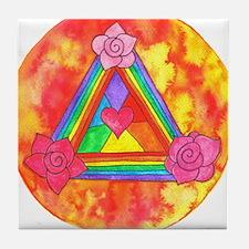 Triple Rose Heart Shield Tile Coaster