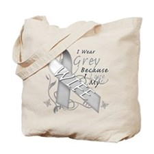 I Wear Grey, I Love My Wife Tote Bag