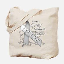 I Wear Grey, I Love My Sister Tote Bag