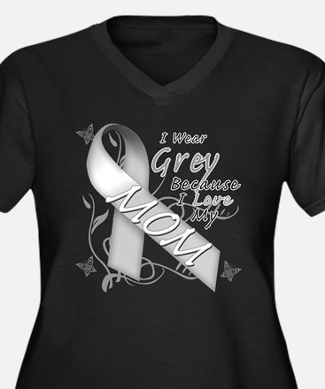 I Wear Grey, I Love My Mom Women's Plus Size V-Nec
