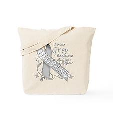 I Wear Grey, I Love My Husban Tote Bag