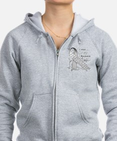 I Wear Grey, I Love My Husban Zip Hoodie