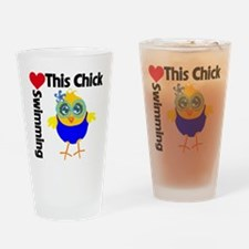 This Chick Loves Swimming v2 Drinking Glass
