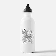 I Wear Grey, I Love My Daught Water Bottle