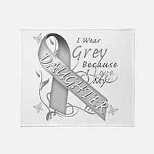 I Wear Grey, I Love My Daught Throw Blanket