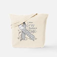 I Wear Grey, I Love My Cousin Tote Bag