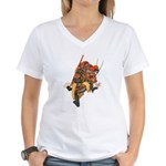 Japanese Samurai Warrior Women's V-Neck T-Shirt