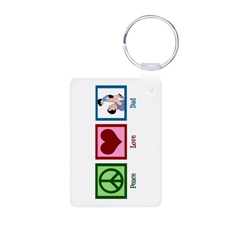 Peace Love Dad Aluminum Photo Keychain