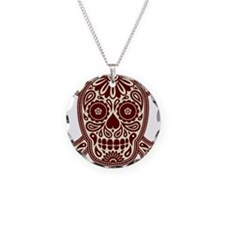 Brown Sugar Skull Necklace Circle Charm