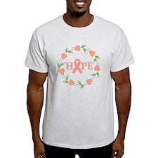 Uterine Cancer Hope Hearts T-Shirt
