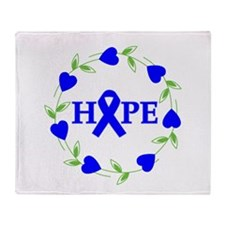 Rectal Cancer Hope Hearts Throw Blanket