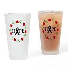 Melanoma Hope Hearts Drinking Glass