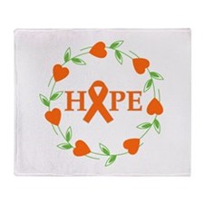 Kidney Cancer Hope Hearts Throw Blanket