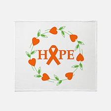Kidney Cancer Hope Hearts Throw Blanket