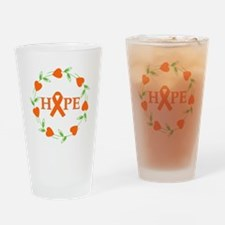 Kidney Cancer Hope Hearts Drinking Glass