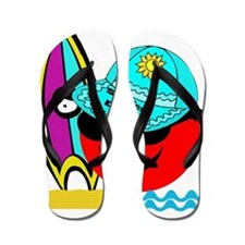 Red Smiley Surfer Dude Flip Flops