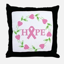 Breast Cancer Hope Hearts Throw Pillow