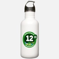 12th Anniversary Green Gift Water Bottle