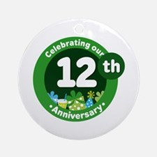 12th Anniversary Green Gift Ornament (Round)