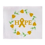 Appendix Cancer Hope Hearts Throw Blanket