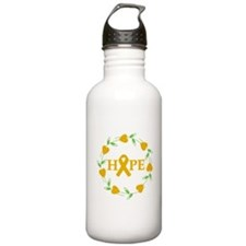 Appendix Cancer Hope Hearts Water Bottle