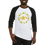 Appendix Cancer Hope Hearts Baseball Jersey