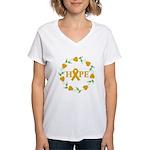 Appendix Cancer Hope Hearts Women's V-Neck T-Shirt