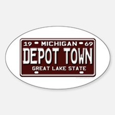 Depot Town License Plate Oval Decal