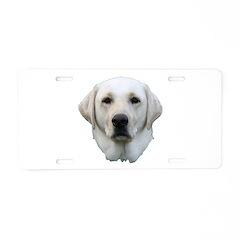 White lab 3 Aluminum License Plate