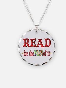 Reading Fun Necklace Circle Charm