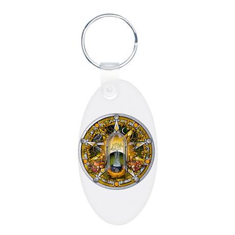Samhain Pentacle Aluminum Oval Keychain