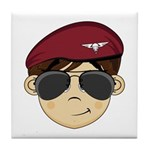 Cute Army Red Beret Tile Coaster