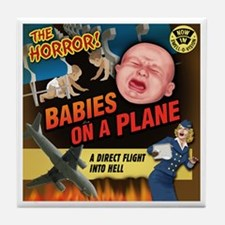 Babies on a Plane Tile Coaster