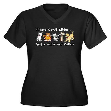 Don't Litter - Spay or Neuter Women's Plus Size V-