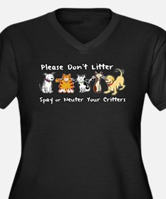 Don't Litter - Spay or Neuter Women's Plus Size V-
