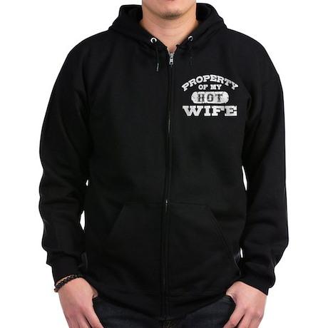 Property Of My Hot Wife Zip Hoodie (dark)