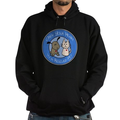 Open Your Heart - Rescued Pet Hoodie (dark)