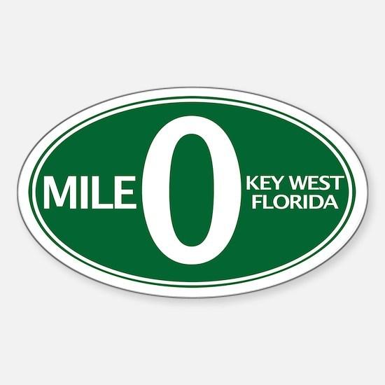 Mile 0 - Mile Zero - Key West, FL - Sticker (Oval)
