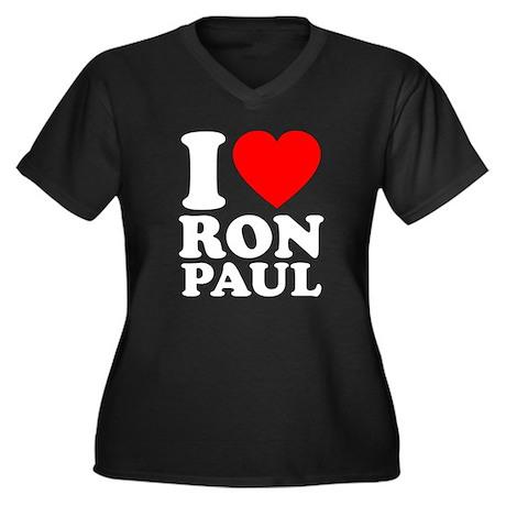 I Love Ron Paul Women's Plus Size V-Neck Dark T-Sh