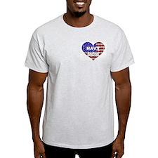 NAVY MOM HEART Ash Grey T-Shirt