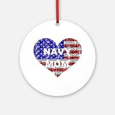 NAVY MOM HEART Ornament (Round)