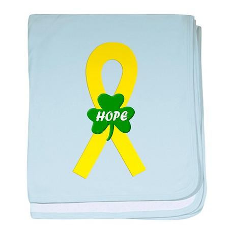 Yellow Shamrock Ribbon baby blanket